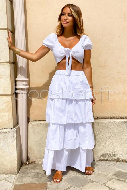 Jupe Femme Longue Volants Blanc / Réf : 6396