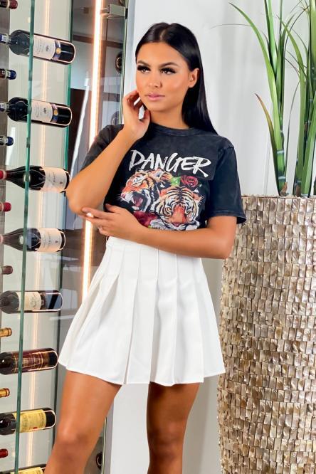 Jupe Femme Plissée Blanc / Réf : 9379-1