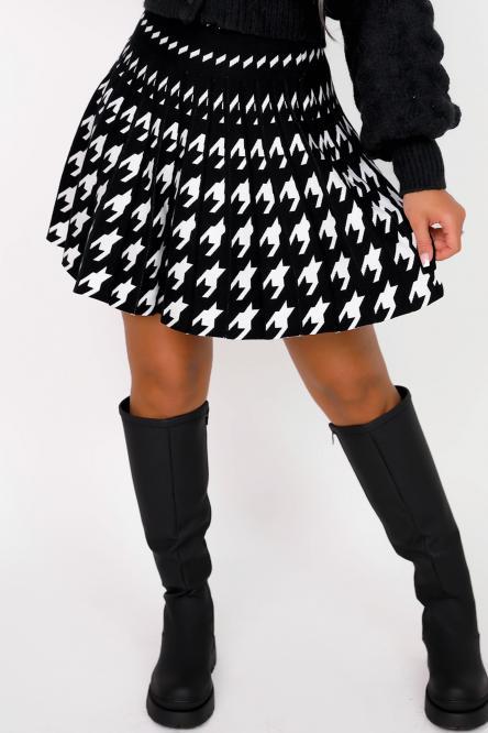 Jupe Femme Plissée Pieds de Coq Noir / Réf : 6213