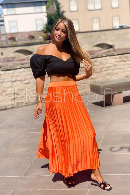 Jupe Femme Plissée Satinée Orange / Réf : 1051