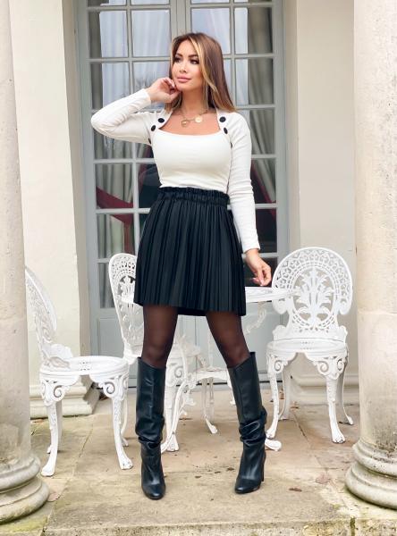 Jupe Femme Simili Plissée Noir / Réf : 1445-0