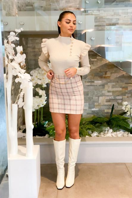 Jupe Femme Tweed Beige / Réf : 1220-2