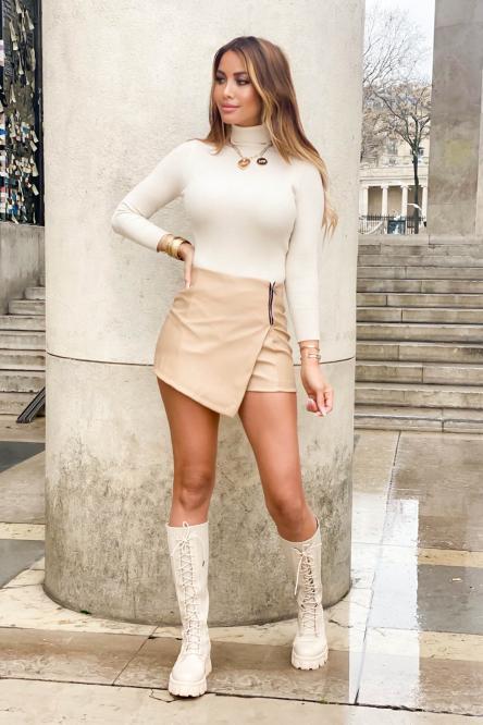 Jupe Short Femme Simili Beige / Réf : 7313-2