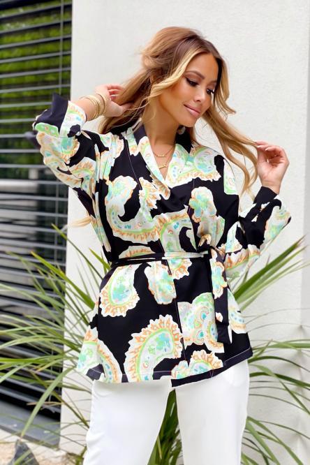 Kimono Femme Imprimé Noir / Réf : 4319-0