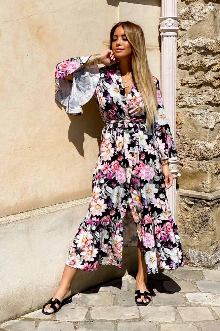 Kimono Femme Long Fleuri Noir / Réf : 5158-0