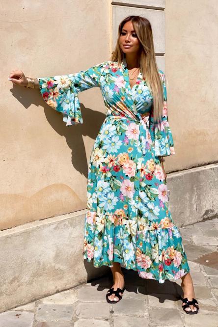 Kimono Femme Long Fleuri Vert Clair / Réf : 5158-17
