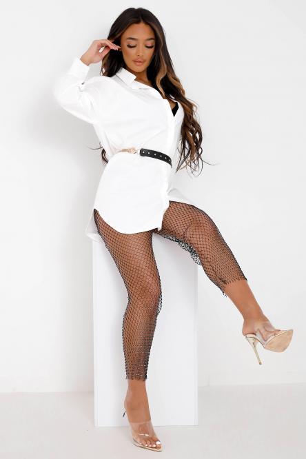 Legging Femme Résille + Strass Noir / Réf : 1052