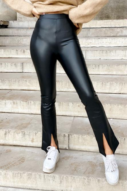 Legging Femme Simili Avant Fendu Noir / Réf : 9099