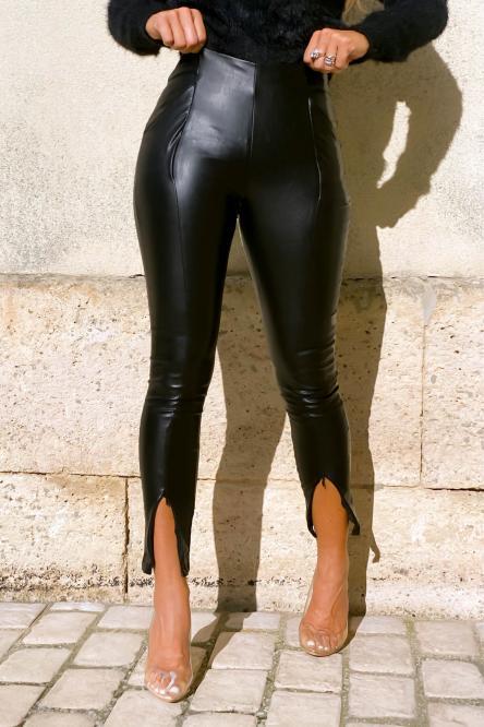 Legging Femme Simili Bas Zippé Noir / Réf : 6008