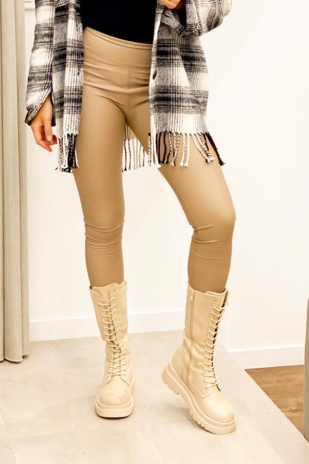 Legging Femme Simili Taupe / Réf : 752-23