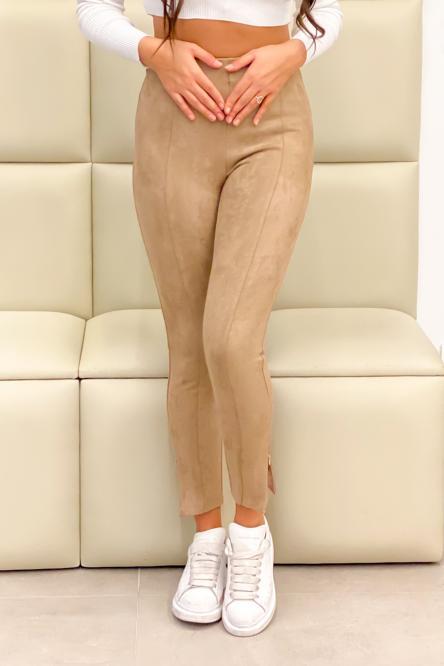 Legging Femme Suédine Bas Zippé Beige / Réf : 530-2