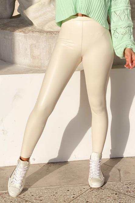 Legging Simili Femme Ecru / Réf : 1800-2