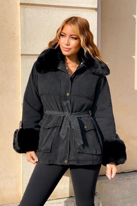 manteau Femme Denim Fur Noir / Réf : 7053