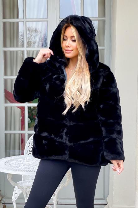 Manteau Femme Fur A Capuche Noir / Réf : 4906