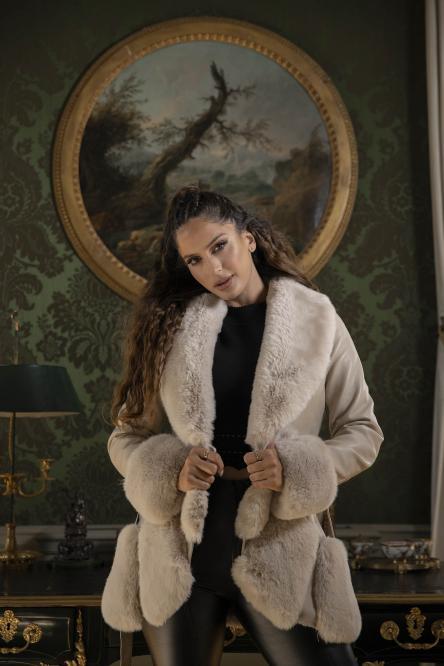 Manteau Femme Fur Simili Crème / Réf : 6005