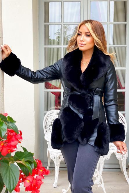 Manteau Femme Fur Simili Noir / Réf : 6005