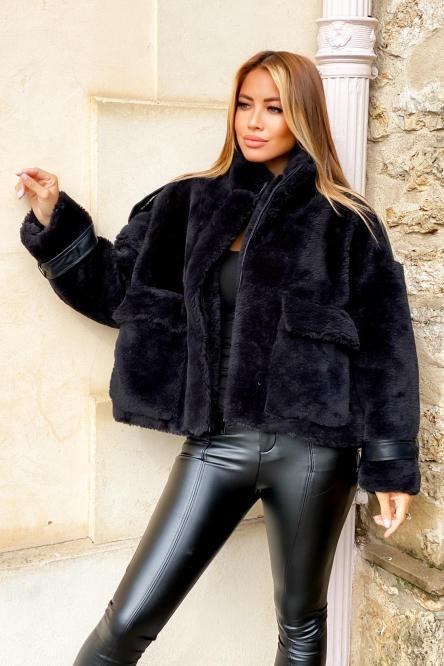 Manteau Femme Moumoute Ample Noir / Réf : 8398