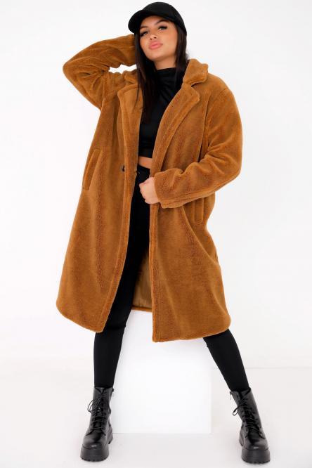 Manteau Femme Moumoute Camel / Réf : 9070
