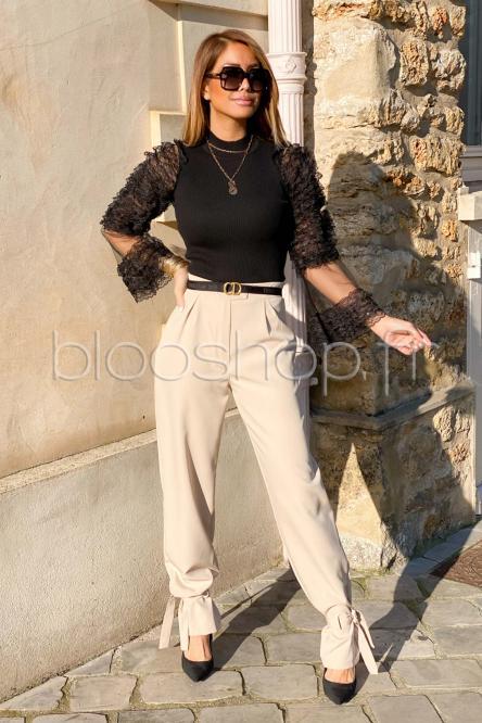 Pantalon Femme Bas Lanières Beige / Réf : 6950