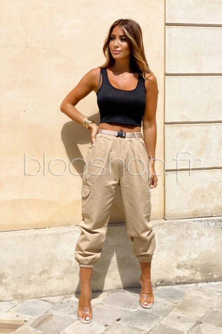 Pantalon Femme Cargo Ample Beige / Réf : 5876