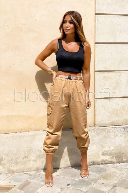 Pantalon Femme Cargo Ample Camel / Réf : 5876