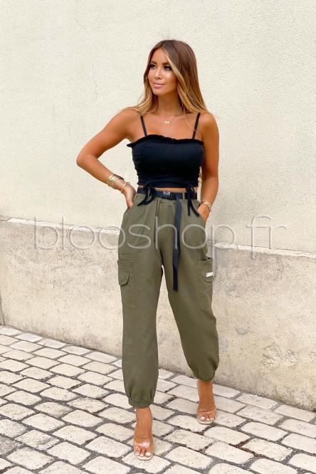 Pantalon Femme Cargo Ample Kaki / Réf : 5876