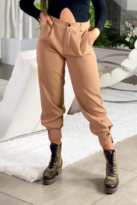 Pantalon Femme Cargo Camel / Réf : 6966-8
