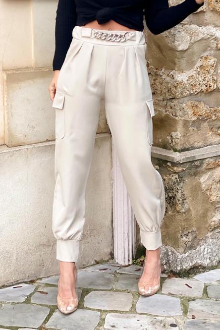 Pantalon Femme Cargo Chaînes Beige / Réf : 1686-2