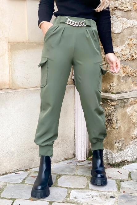 Pantalon Femme Cargo Chaînes Kaki / Réf : 1686-3