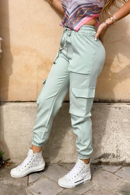 Pantalon Femme Cargo Vert Clair / Réf : 2248-17