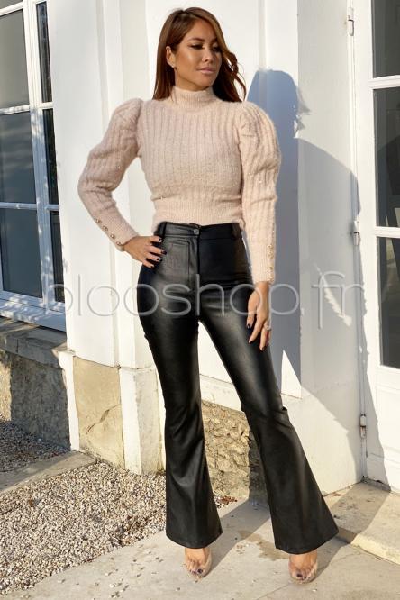 Pantalon Femme Evasé Noir / Réf : 4975