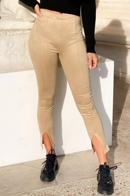 Pantalon Femme Fendu Beige / Réf : 1151-2