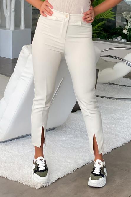 Pantalon Femme Fendu Crème / Réf : 6013-24