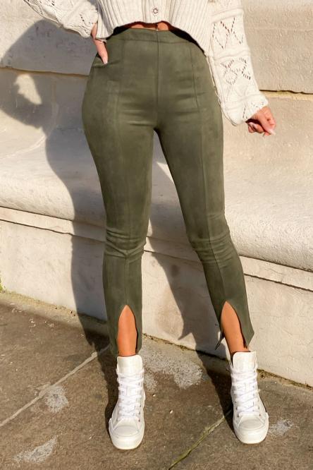 Pantalon Femme Fendu Kaki / Réf : 1151-3