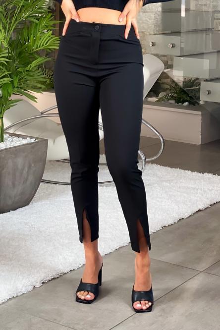 Pantalon Femme Fendu Noir / Réf : 6013-0
