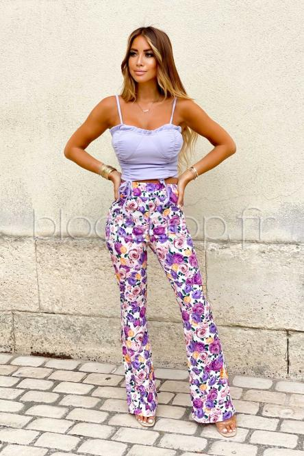 Pantalon Femme Fleuri Blanc / Réf : 1092