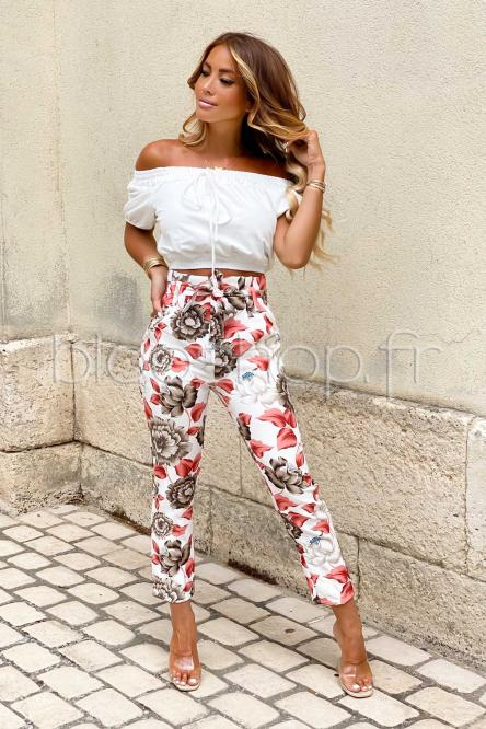 Pantalon Femme Fleuri Écru / Réf : 1562
