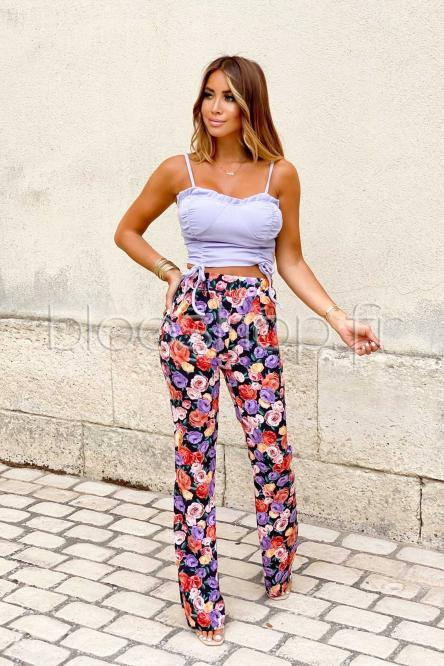 Pantalon Femme Fleuri Noir / Réf : 1092