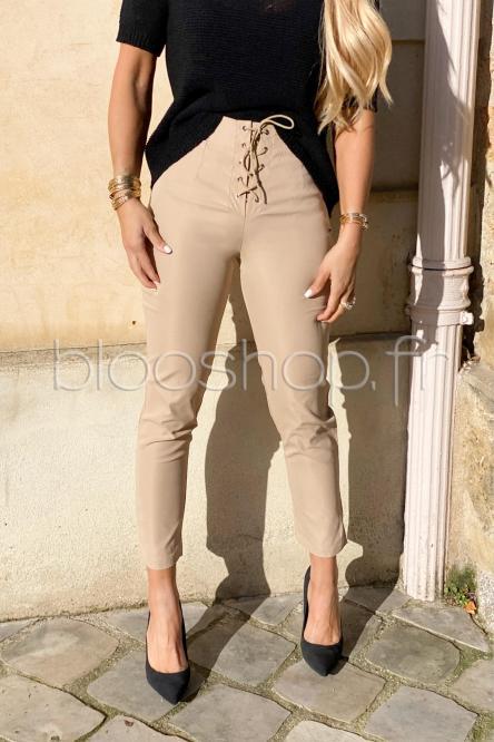 Pantalon Femme Laçage Beige / Réf : 1110