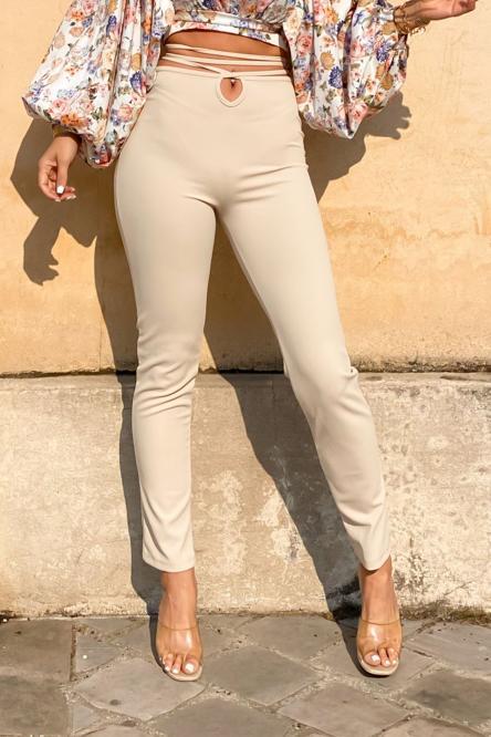 Pantalon Femme Laçage Beige / Réf : 3815-2