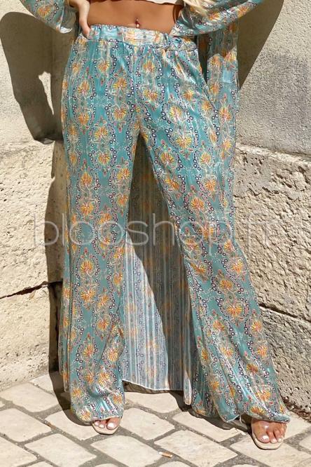 Pantalon Femme Long Imprimé Vert / Réf : 1093