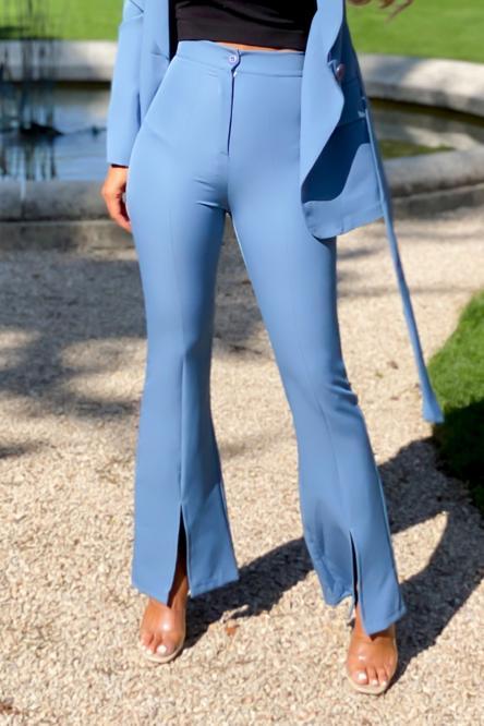 Pantalon Femme Pince Avant Fendu Bleu / Réf : 9652