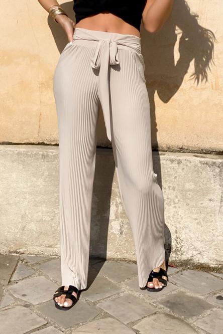 Pantalon Femme Plissé Beige / Réf : 990-2