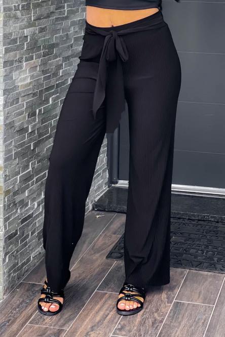 Pantalon Femme Plissé Noir / Réf : 990-0
