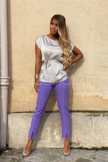 Pantalon Femme Slim Fendu Violet / Réf : 6038