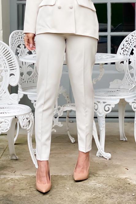 Pantalon Femme Taille Haute Beige / Réf : 6012-2