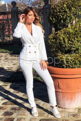 Pantalon Slim Femme Blanc / Réf : 7386