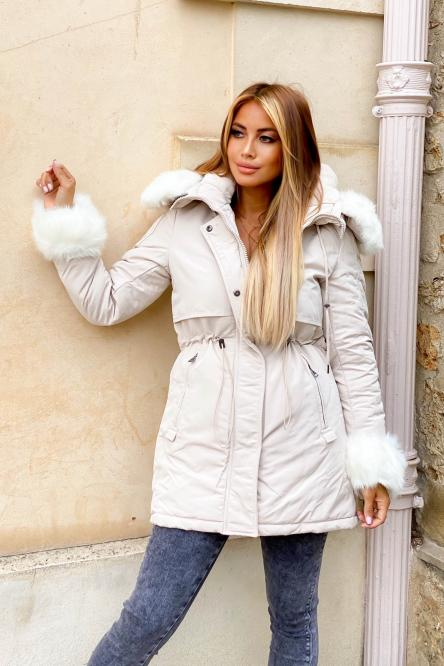 Parka Femme + Fur Ecru / Réf : 7500