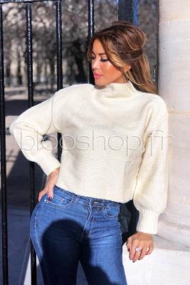 Pull Cropped Femme Beige