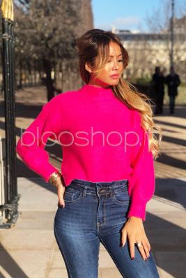 Pull Cropped Femme Fuchsia